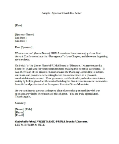 thank you letter after sponsorship meeting sponsorship thank you letter sle sponsor thank you