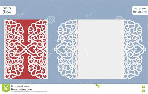 Card Cut Out Template Laser Cut Wedding Invitation Card Template Vector Cut Out The Paper Card With Lace Pattern