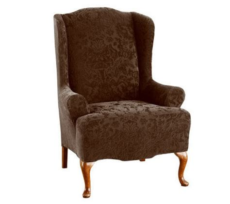 stretch wing chair slipcover sure fit stretch jacquard damask wing chair slipcover