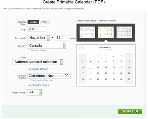 online planner free how to create a pdf calendar online
