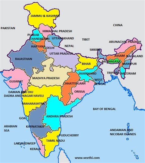 india map with country names india all about india veethi places to visit