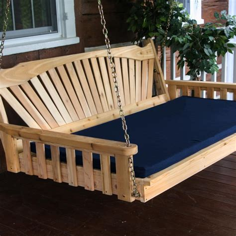 A&L Furniture Fanback 5 Foot Cedar Outdoor Swing Bed With