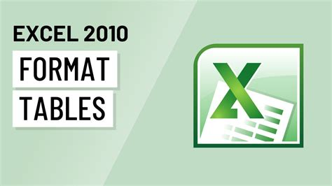 excel layout design excel 2010 formatting tables youtube