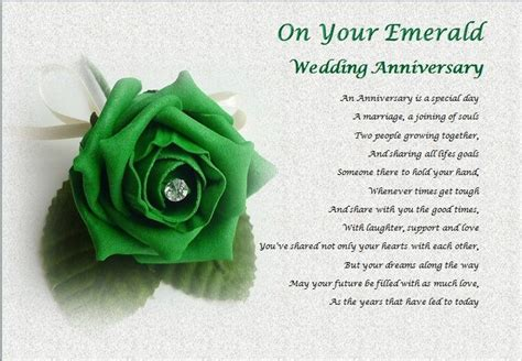 Emerald Wedding Anniversary Card Uk by Emerald Wedding Anniversary Personalised Poem Laminated