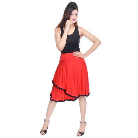 buy knee length cotton lycra flair skirt