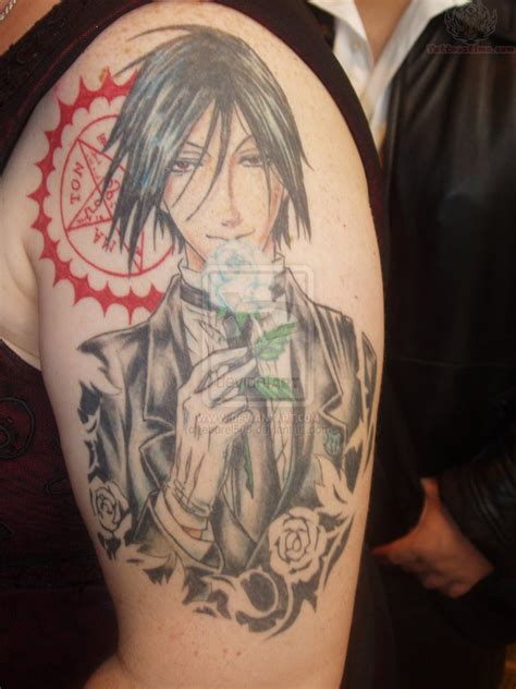 anime sleeve tattoo anime tattoos black butler anime on bicep