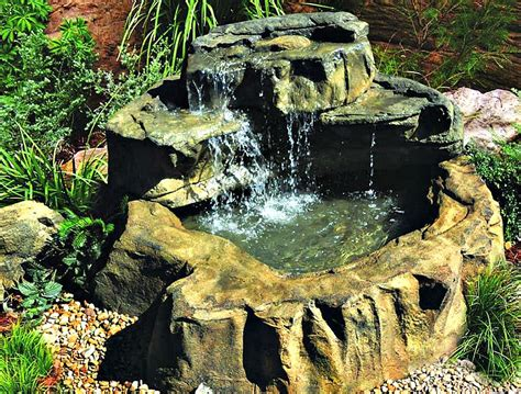 Garden Pond Kits - medium preformed patio garden ponds rock waterfall kits