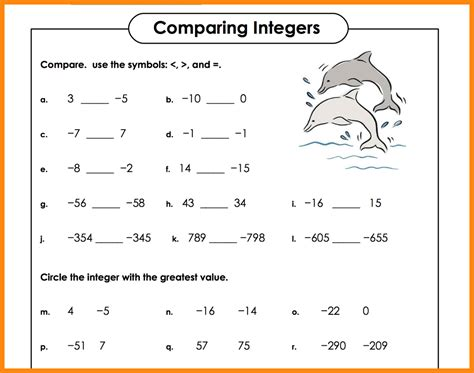 printable math worksheets integers collection of compare integers worksheet bluegreenish