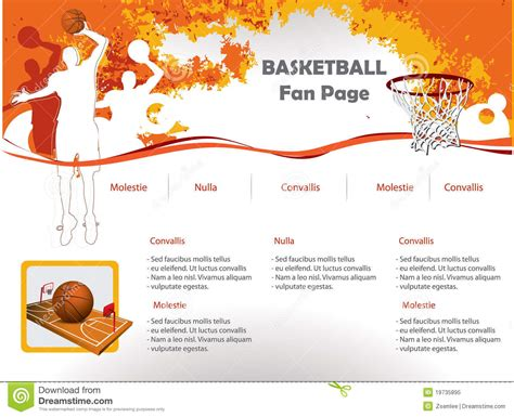 basketball design template basketball web site design template royalty free stock