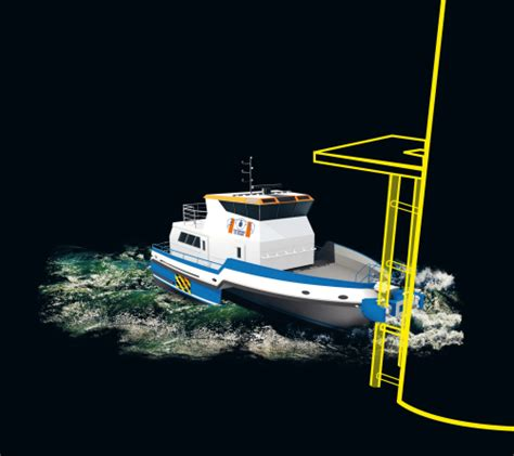 boat landing wind turbine trimaran crew transfer vessel increases offshore wind farm