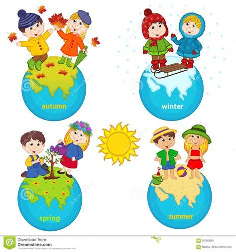 clipart bimbi bambini e quattro stagioni sul pianeta illustrazione