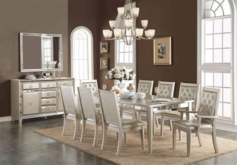 Acme Dining Room Furniture 9 piece acme voeville matte gold mirrored dining set