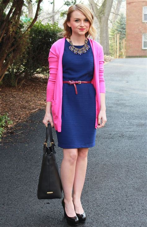 pink colour combination dresses blue dress and j crew pink cardigan navy pink blue