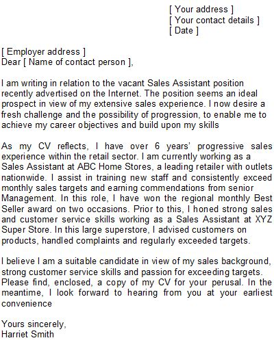 sales assistant covering letter sle