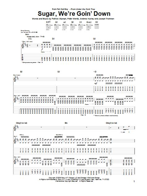 we were swinging song sugar we re goin down by fall out boy guitar tab