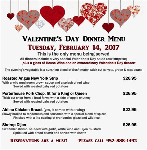 valentines day restaurant menu s day dinner special bloomington event center