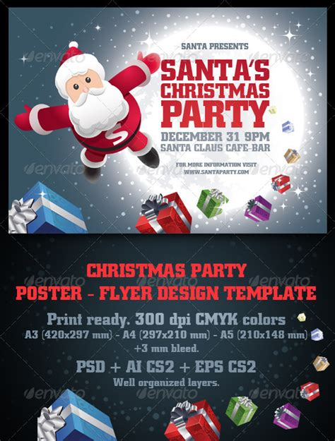 santa s christmas party poster flyer set by sgursozlu