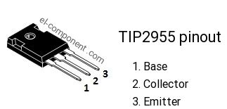 transistor tip2955 tip2955 p n p transistor complementary npn replacement pinout pin configuration substitute