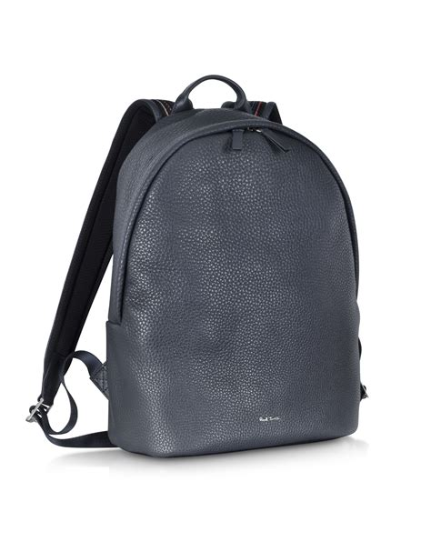 Navy Blue Leather by Paul Smith Navy Blue Leather City Webbing S Backpack