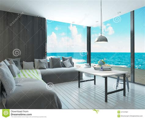 sea view living room maritime style living room interior with cozy couch and