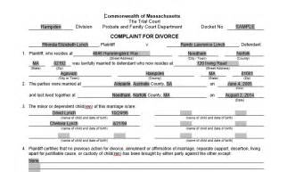Sle Petition Of Divorce Filing Divorce Papers Massachusetts 100 Images Divorce Documents Free Divorce Laws