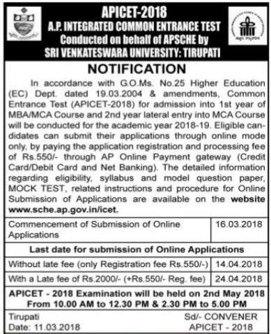 Icet For Mba by Ap Icet 2018 Notification Application Form Date