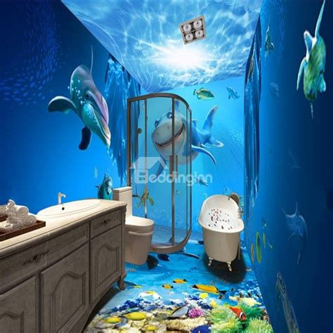 realistic wall murals realistic blue lovely dolphins and fishes in the sea pattern waterproof 3d bathroom wall murals