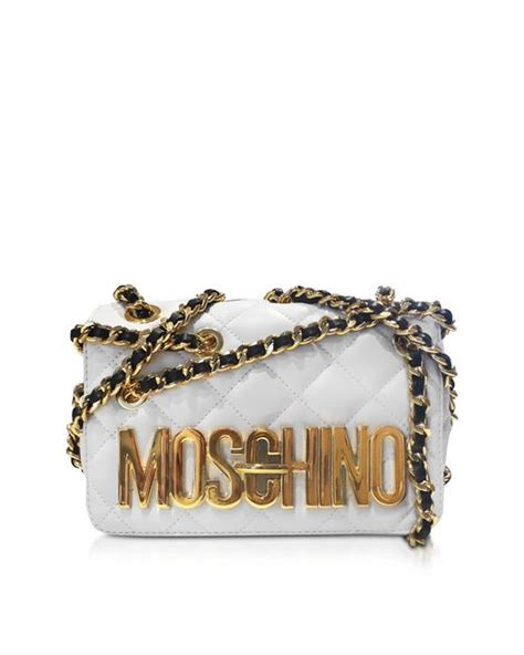 Moschino Quilted Logo Shoulder Bag by Moschino White Quilted Nappa Leather Shoulder Bag W Golden