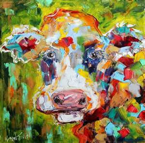 colorful cow painting original painting colorful cow palette knife impasto