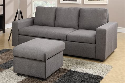 grey linen sectional sofa modern gray reversible linen style sectional by poundex