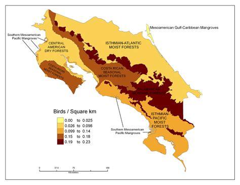 costa rica population density map costa rica study abroad mesa community college