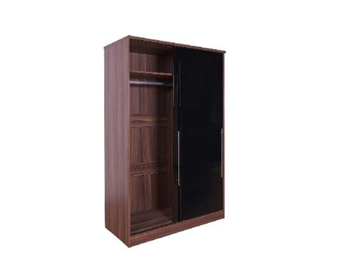 Modular Fitted Wardrobes by Gfw Modular 2 Door Walnut And Black Gloss Sliding Wardrobe