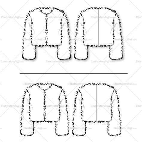 pattern drafting with illustrator women s fur chubby cropped jacket fashion flat template