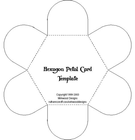 flower envelope template mirkwood designs hexagon petal card template