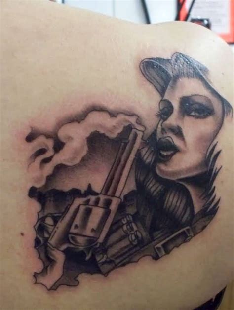 tattoo girl with gun girl back tattoo ideas and girl back tattoo designs