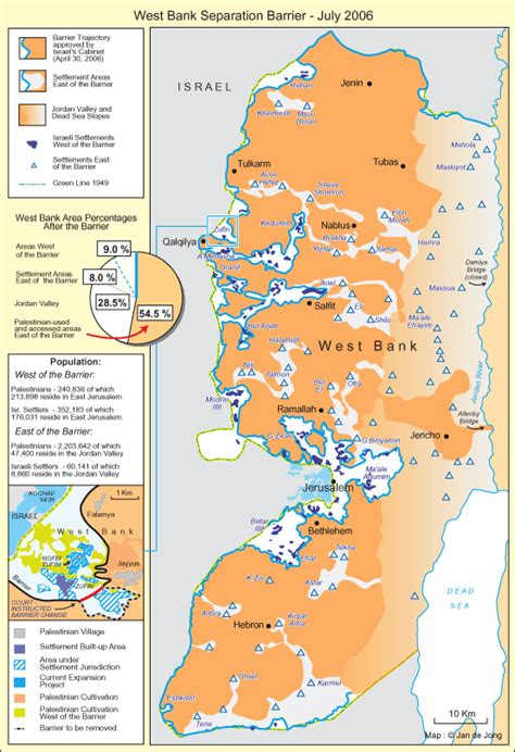 middle east map west bank west bank separation barrier july 2006 foundation for