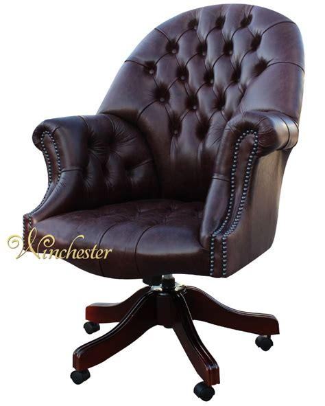 chesterfield swivel chair chesterfield directors leather office chair
