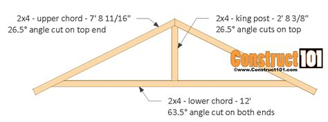 How To Make Trusses For Shed by 12x12 Shed Plans Gable Shed Construct101