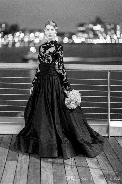 Discount New Vintage Gothic Style Black Wedding Dresses Long Sleeve High Neck Lace Tulle Taffeta