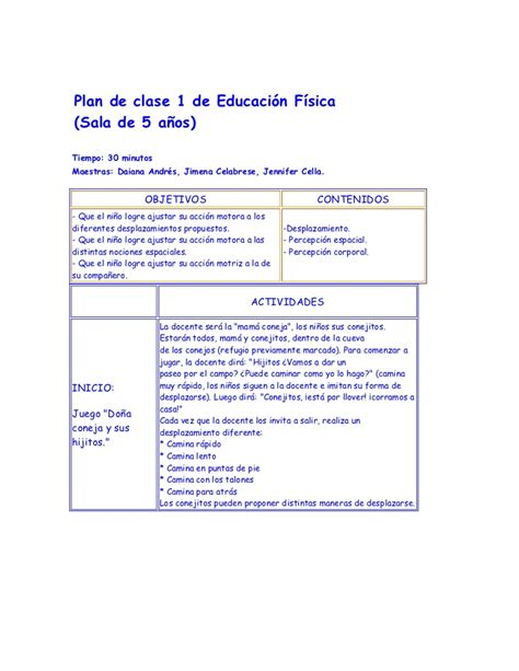 Planificaciones Educacin Primaria | 161 5 planes de clase de educaci 243 n f 237 sica
