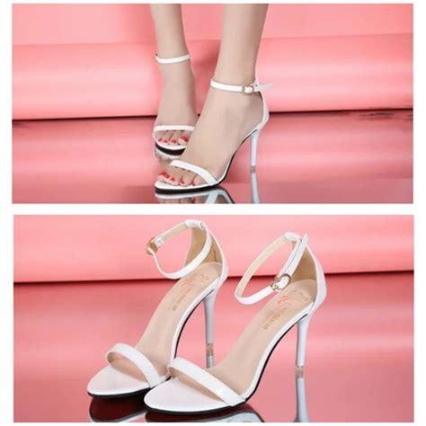Sepatu High Heels Glitter 9cm jual shh169 white sepatu heels cantik wanita 9cm