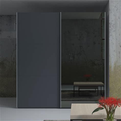 Click to zoom loft two door sliding wardrobe grey glass and mirror