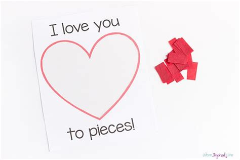i you to pieces card template i you to pieces s day craft activity