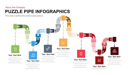 puzzle pipe infographics powerpoint and keynote template
