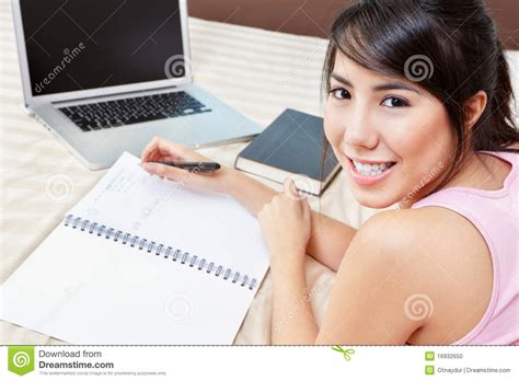 studying in bed study on bed stock photo image 16932650