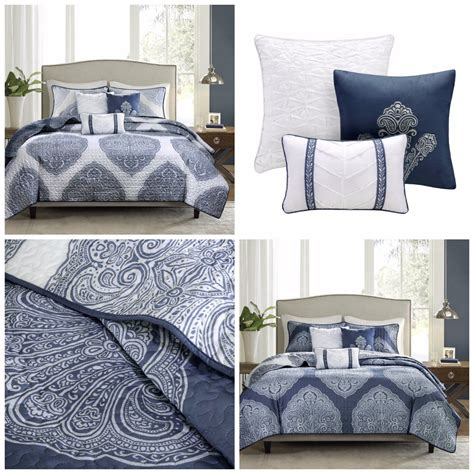 king size navy blue gray striped comforter set 7 piece