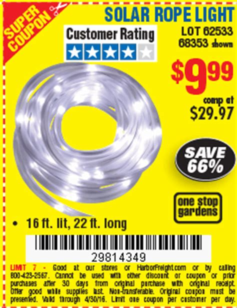 Digital Savings And Coupons From Harbor Freight Harbor Freight Solar Rope Light