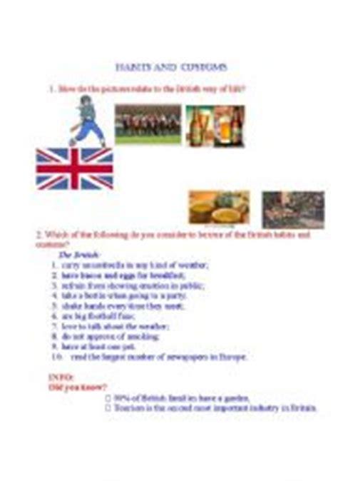 english worksheet habits and customs