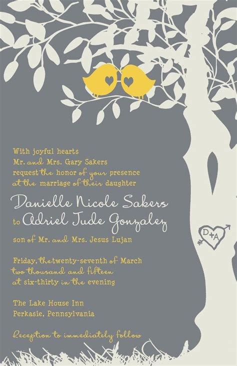 wedding invitations with birds bird wedding invitations yellow and gray tree