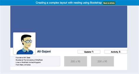 Bootstrap Profile Layout | creating a complex layout with nesting using bootstrap
